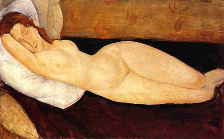 Reclining Nude, Head Resting on Right Arm 1919 Amedeo Modigliani