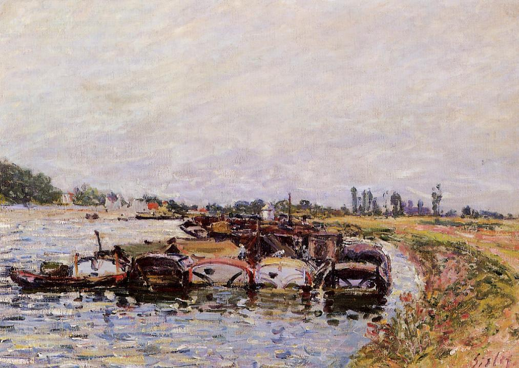 Barge Garage at Saint-Mammes  1885 | Alfred Sisley | Oil Painting