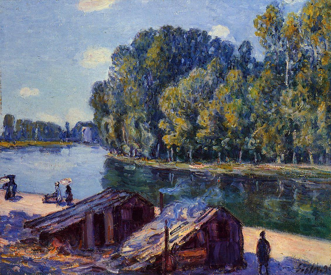 Cabins along the Loing Canal Sunlight Effect  1896 | Alfred Sisley | Oil Painting