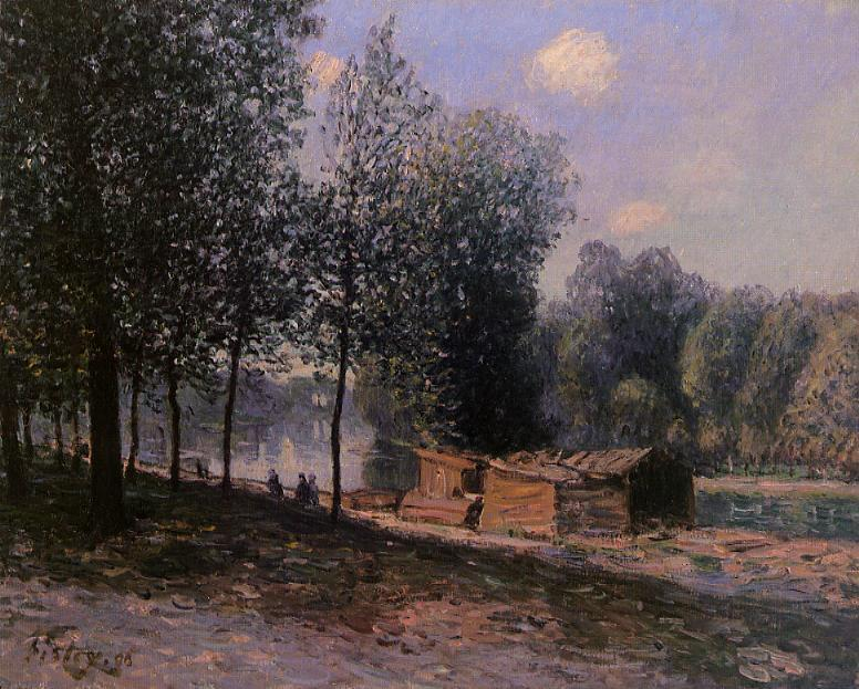 Cabins by the River Loing Morning  1896 | Alfred Sisley | Oil Painting