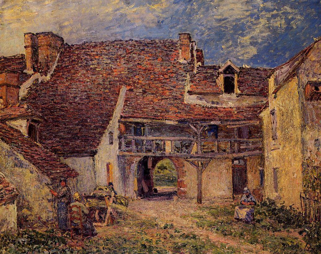 Courtyard of a Farm at Saint-Mammes  1884 | Alfred Sisley | Oil Painting