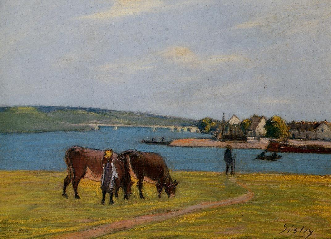 Cows by the Seine at Saint-Mammes  1895 | Alfred Sisley | Oil Painting