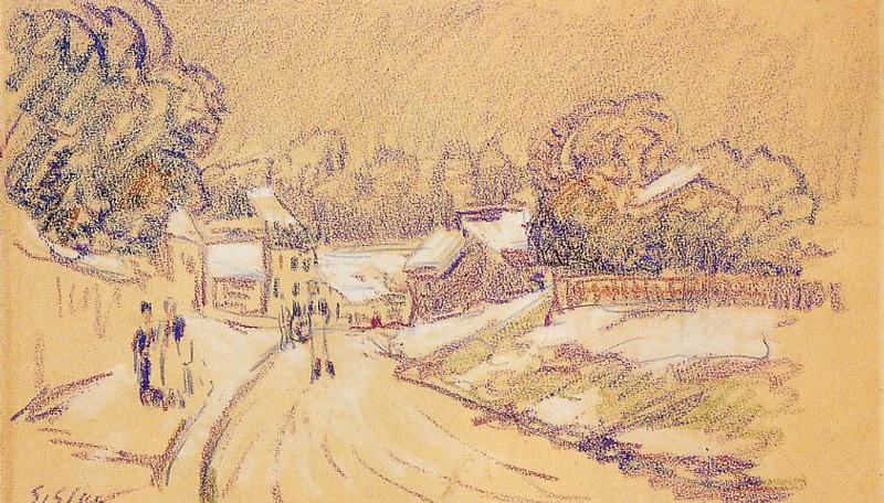 Early Snow at Louveciennes  1871-1872 1 | Alfred Sisley | Oil Painting
