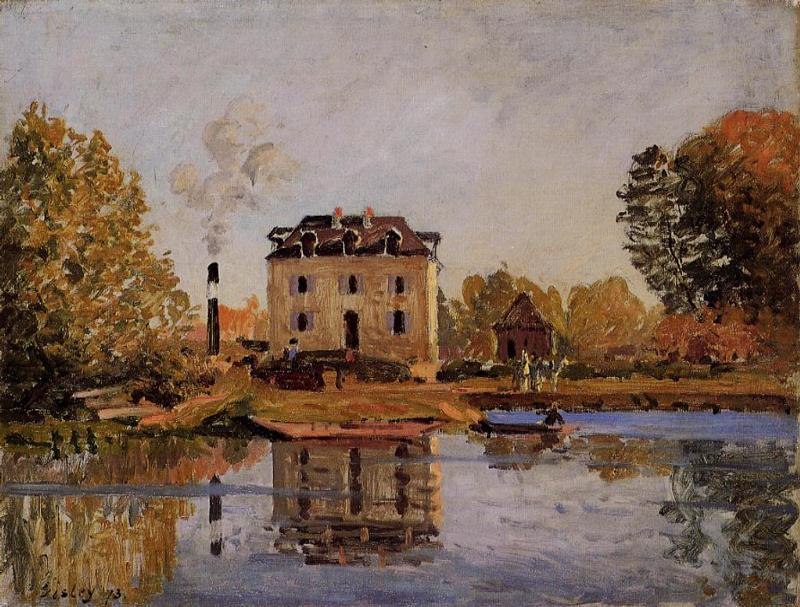 Factory in the Flood Bougival  1873 | Alfred Sisley | Oil Painting