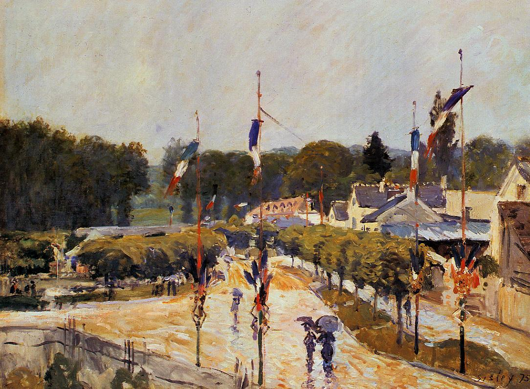 Fete Day at Marly-le-Roi (aka The Fourteenth of July at Marly-le-Roi)  1875 | Alfred Sisley | Oil Painting