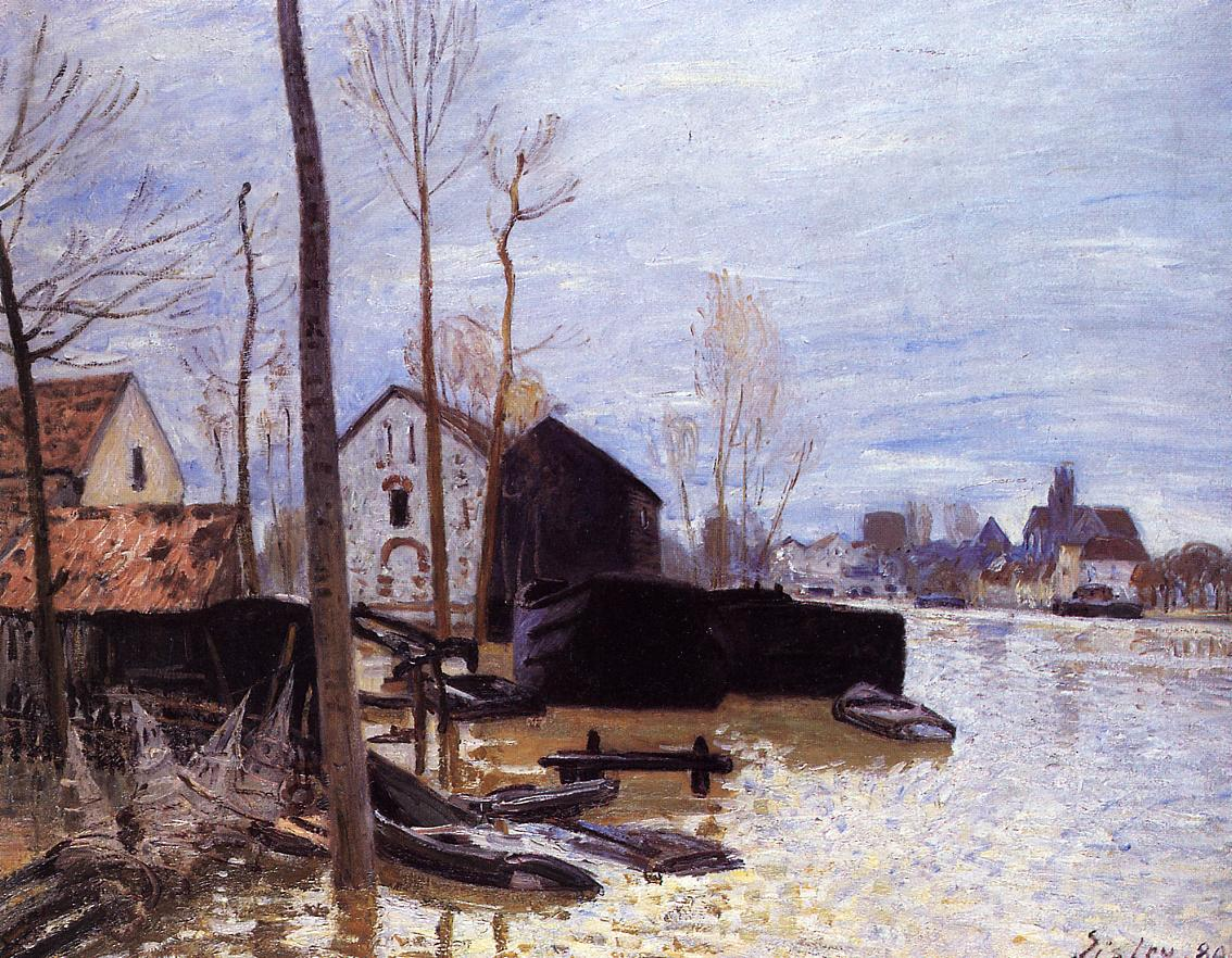 Flooding at Moret  1889 | Alfred Sisley | Oil Painting