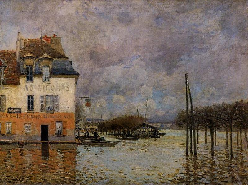 Flood at Port-Marly  1876 1 | Alfred Sisley | Oil Painting