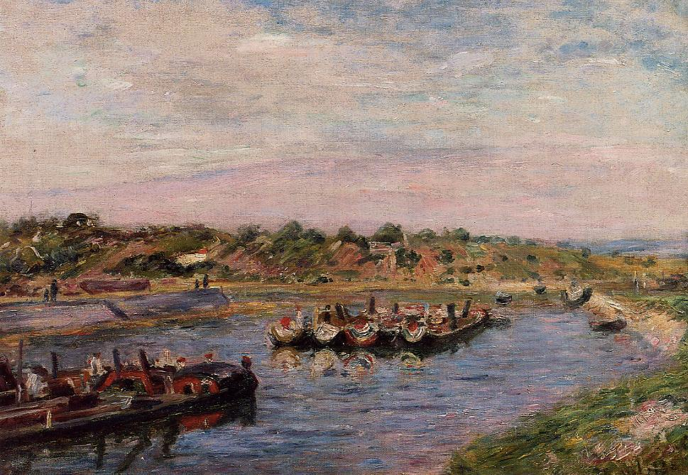 Idle Barges on the Loing Canal at Saint-Mammes  1885 | Alfred Sisley | Oil Painting