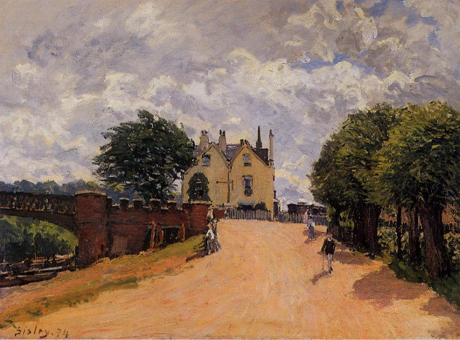 Inn at East Molesey with Hampton Court Bridge  1874 | Alfred Sisley | Oil Painting