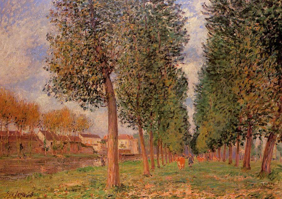 Lane of Poplars at Moret Cloudy Morning  1888 | Alfred Sisley | Oil Painting
