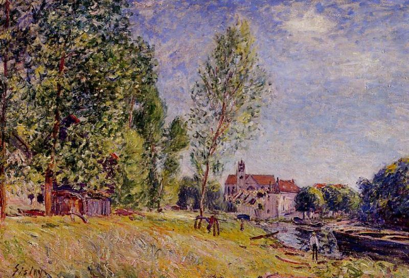 Matratat's Boatyard Moret-sur-Loing  1883 | Alfred Sisley | Oil Painting