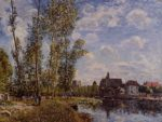 Moret View from the Loing May Afternoon  1888   Alfred Sisley   Oil Painting