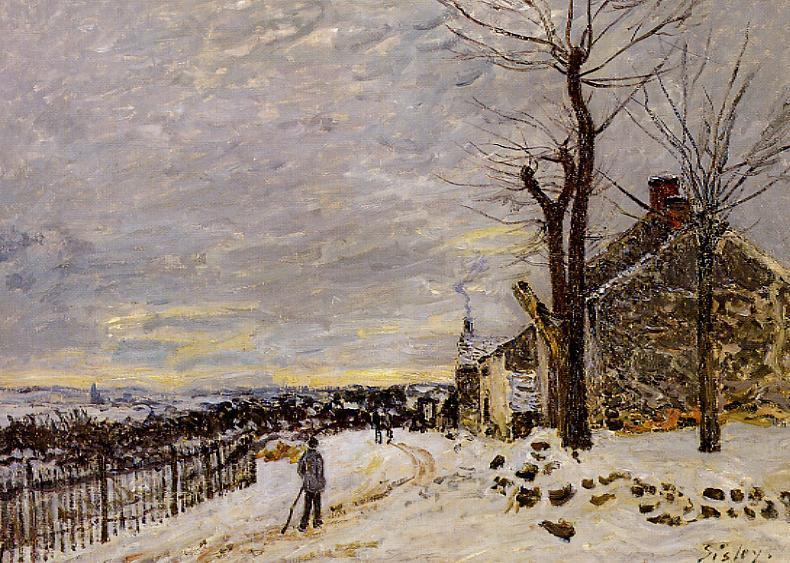 Snowy Weather at Veneux-Nadon  1880   Alfred Sisley   Oil Painting