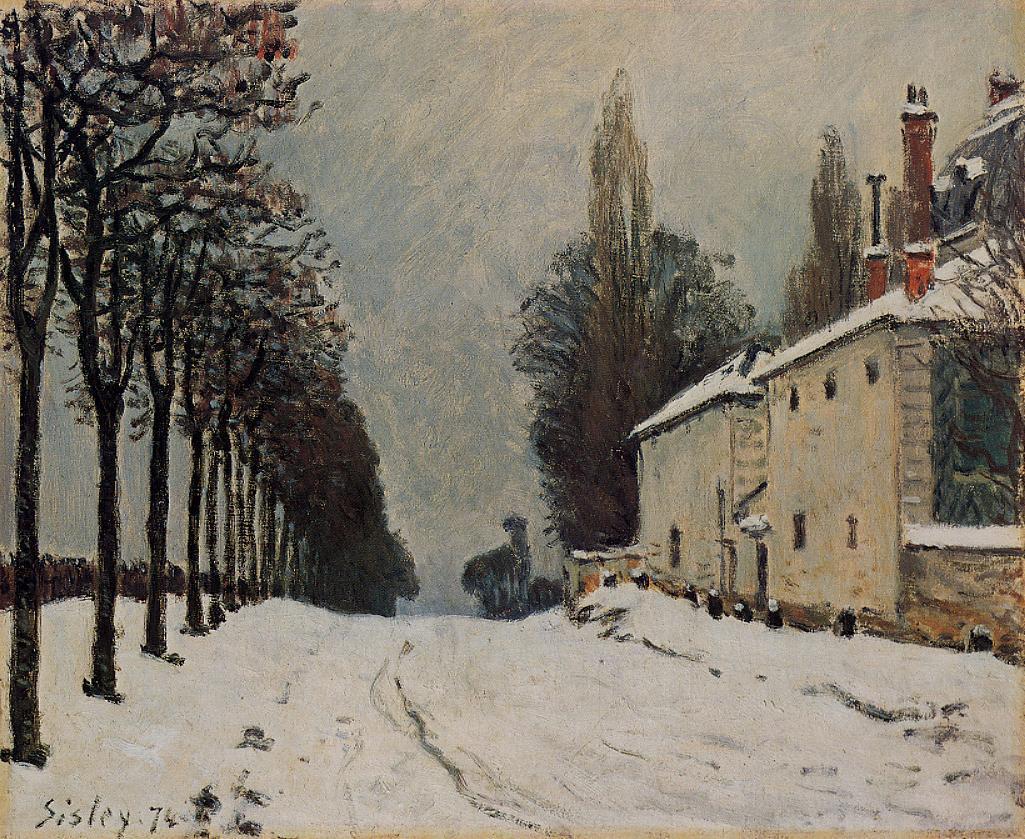 Snow on the Road Louveciennes (aka Chemin de la Machine)  1874   Alfred Sisley   Oil Painting