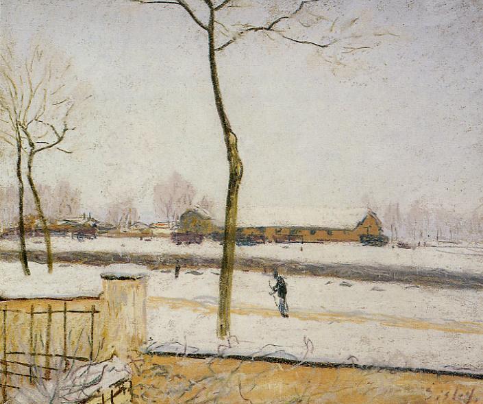 Snow Scene - Moret Station  1888   Alfred Sisley   Oil Painting