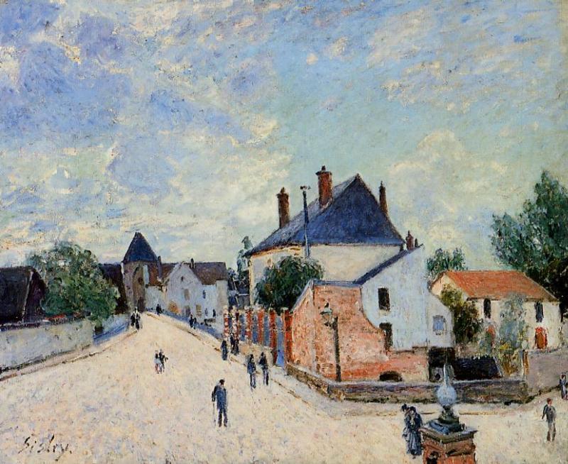 Street in Moret (aka Porte de Bourgogne from Across the Bridge)  1888   Alfred Sisley   Oil Painting