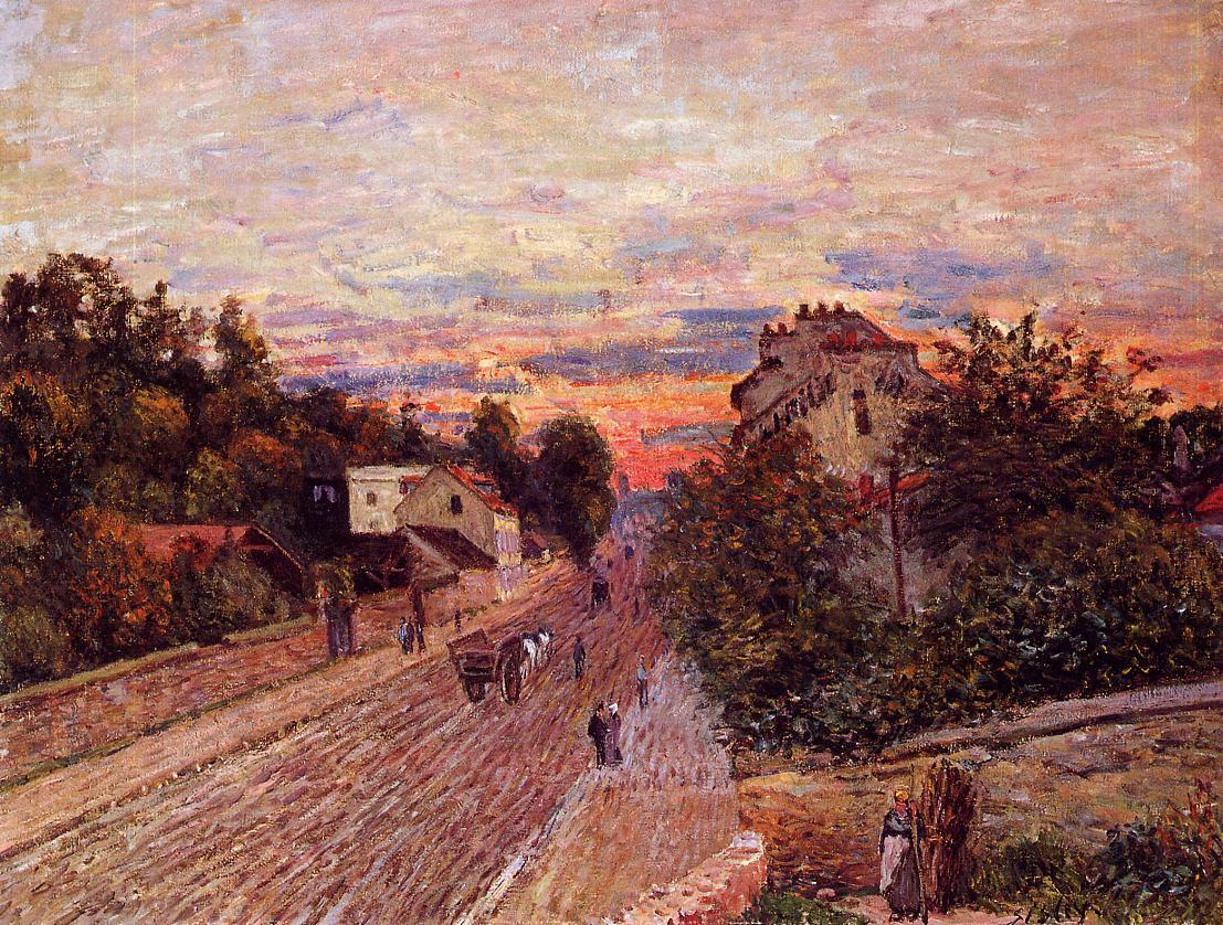 Sunset at Port-Marly  1876   Alfred Sisley   Oil Painting