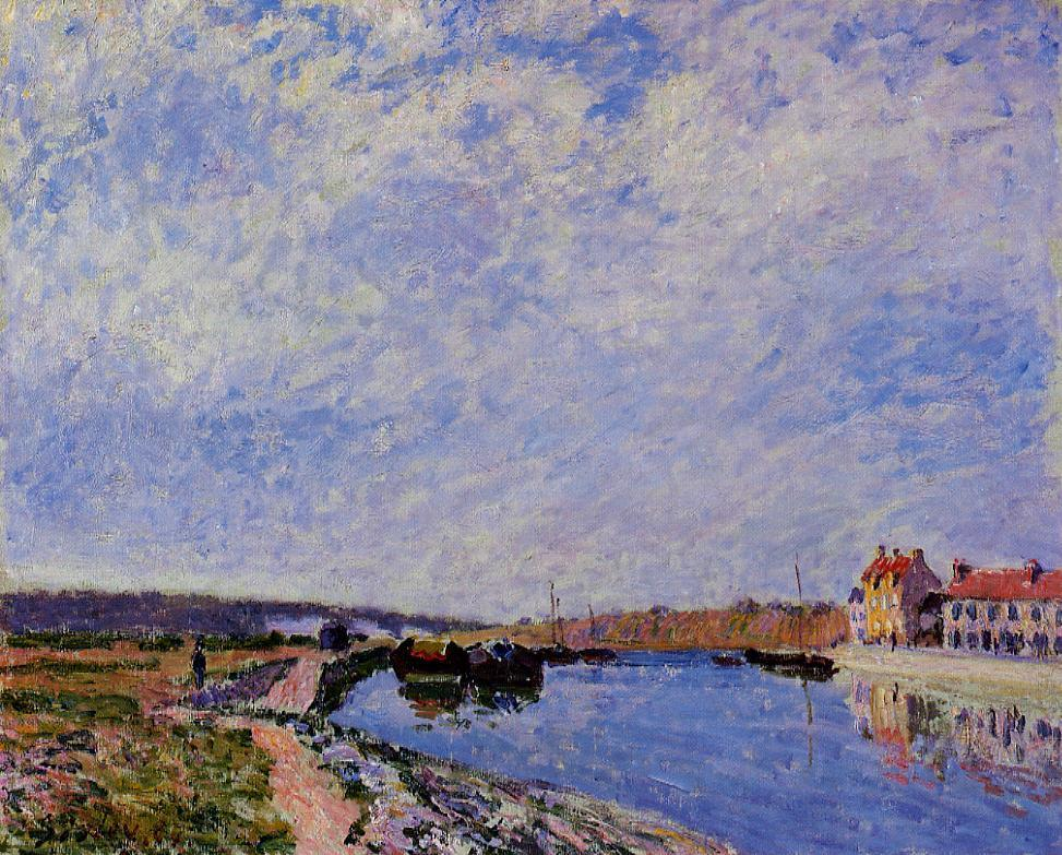 The Barge Port and Saint-Mammes  1884   Alfred Sisley   Oil Painting