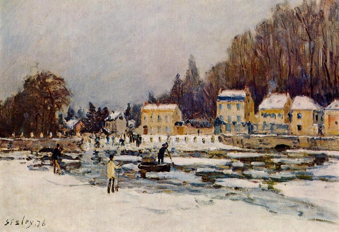 The Blocked Seine at Port-Marly  1876   Alfred Sisley   Oil Painting