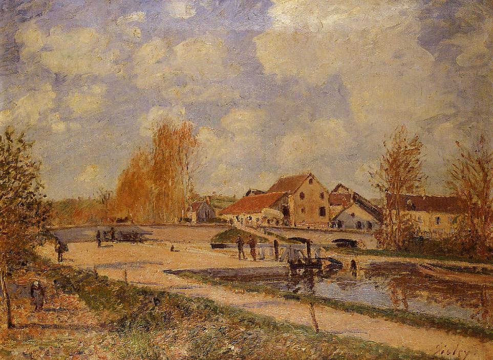 The Bourgogne Lock at Moret Spring  1882   Alfred Sisley   Oil Painting
