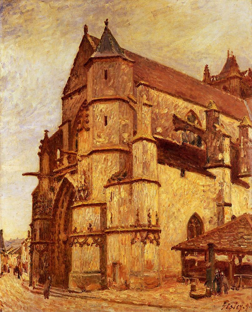 The Church at Moret Rainy Morning  1893 2 | Alfred Sisley | Oil Painting