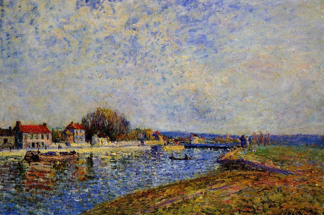 The Dam Loing Canal at Saint-Mammes  1884 | Alfred Sisley | Oil Painting