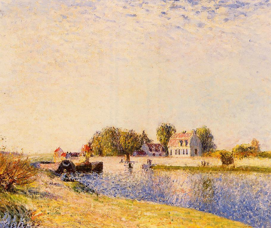 The Dam on the Loing - Barges  1885 | Alfred Sisley | Oil Painting