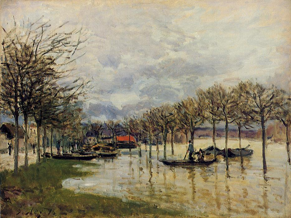 The Flood on the Road to Saint-Germain  1876 | Alfred Sisley | Oil Painting