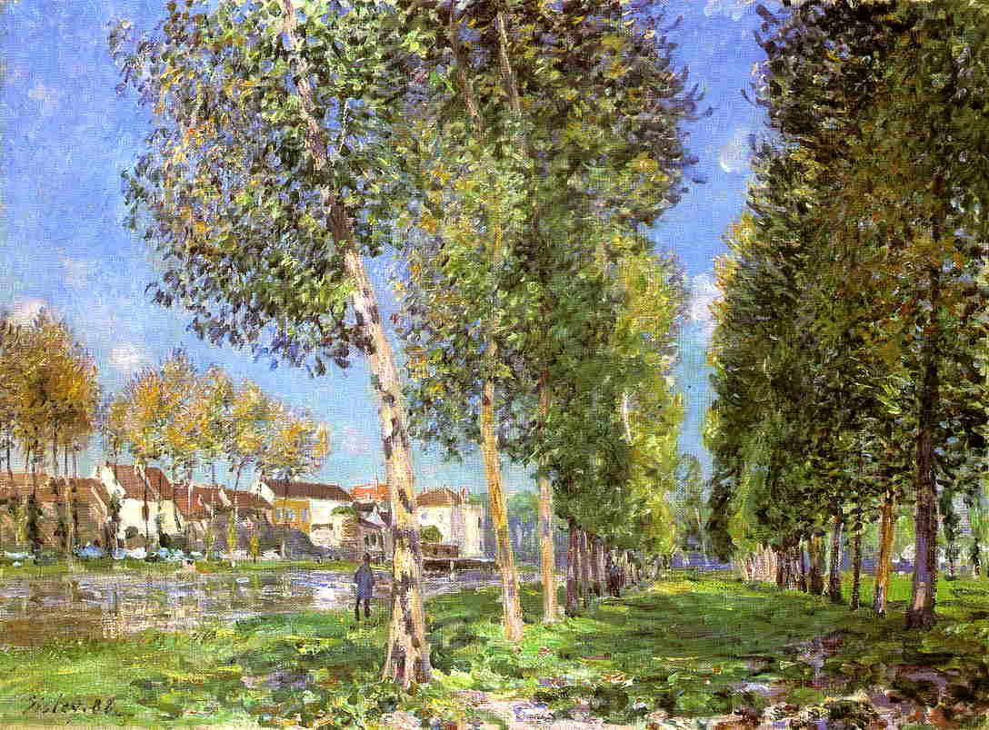 The Lane of Poplars at Moret Morning  1888 | Alfred Sisley | Oil Painting