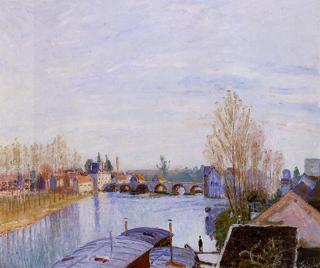 The Loing at Moret the Laundry Boat  1890 | Alfred Sisley | Oil Painting