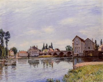 The Loing Flowing under the Moret Bridge  1892 | Alfred Sisley | Oil Painting