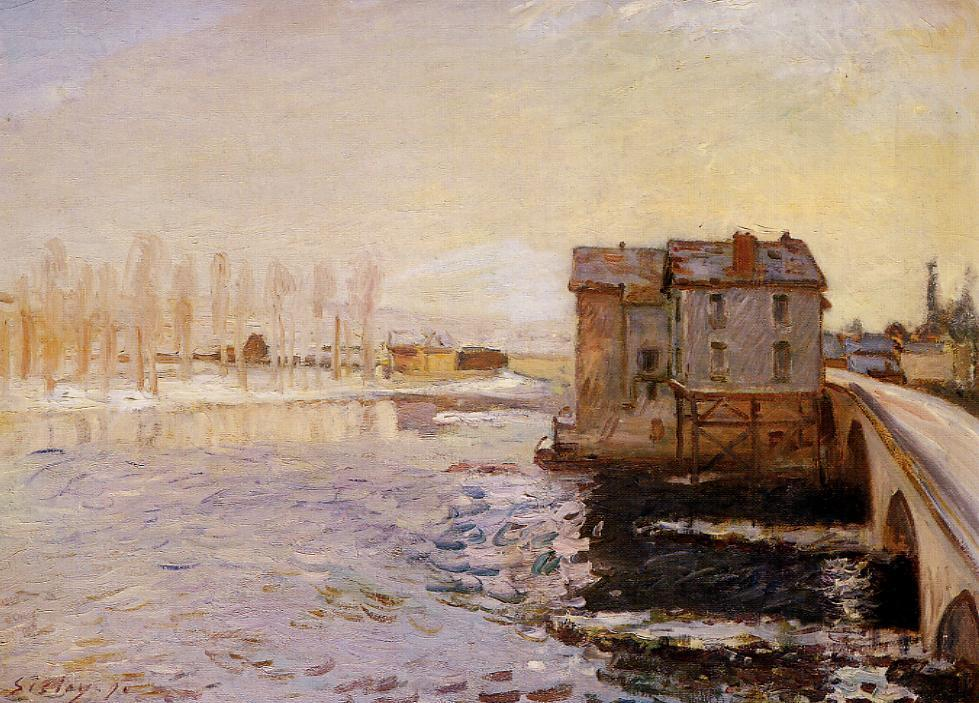 The Moret Bridge and Mills under Snow  1890 | Alfred Sisley | Oil Painting