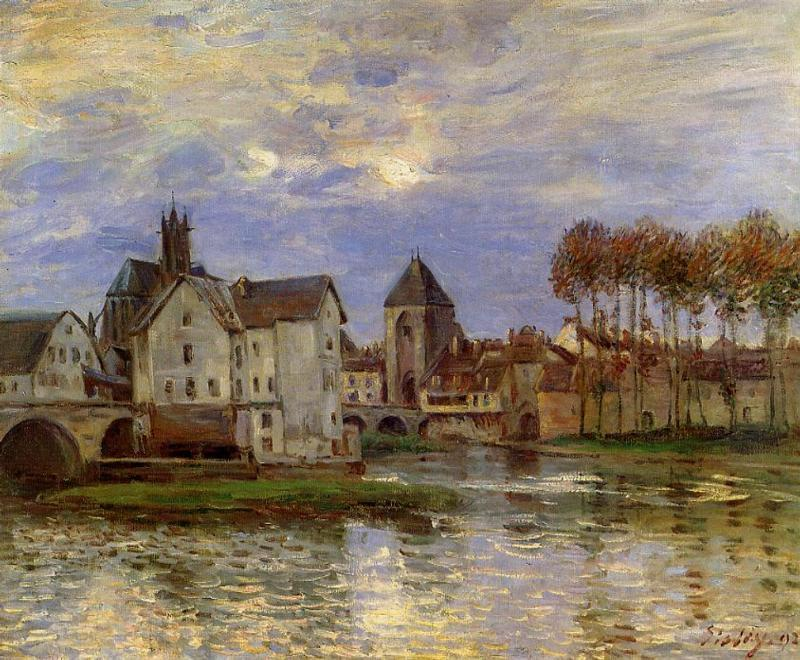 The Moret Bridge at Sunset  1892 | Alfred Sisley | Oil Painting