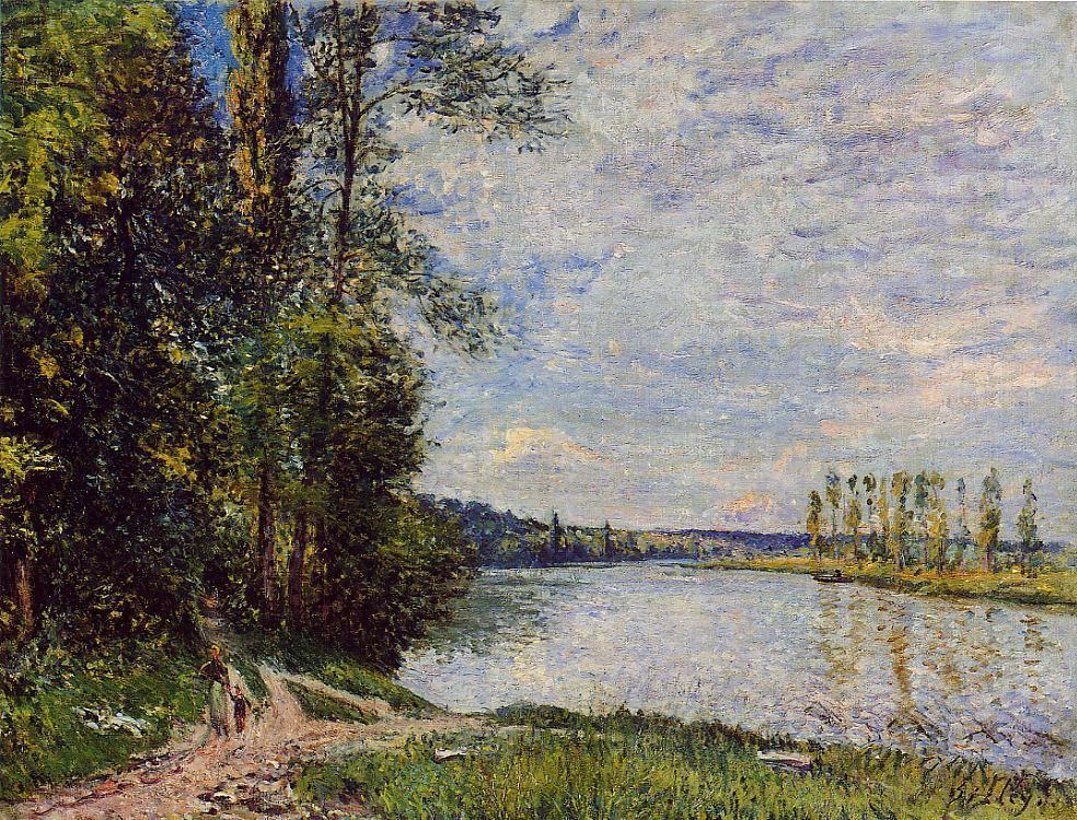 The Path from Veneux to Thomery along the Water Evening  1880 | Alfred Sisley | Oil Painting