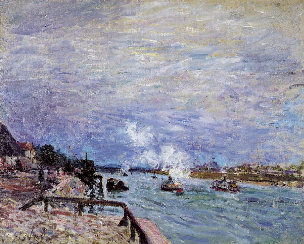 The Seine at Grenelle - Rainy Wether  1878 | Alfred Sisley | Oil Painting