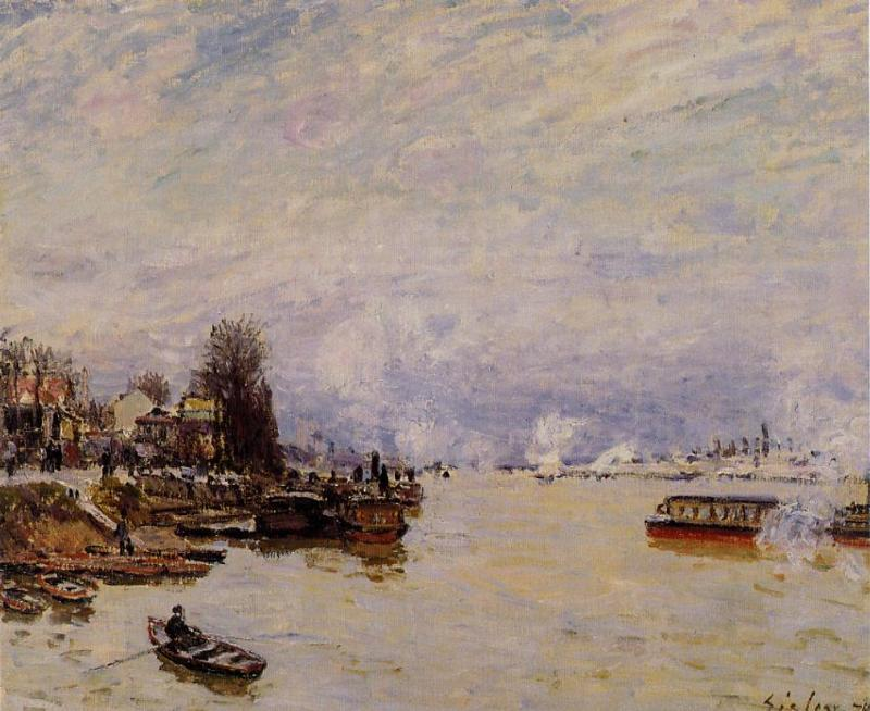 The Seine View from the Quay de Pont du Jour  1878 | Alfred Sisley | Oil Painting