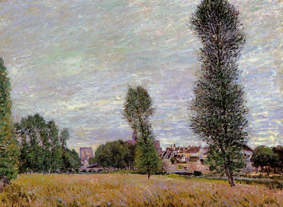 The Village of Moret Seen from the Fields  1886 | Alfred Sisley | Oil Painting