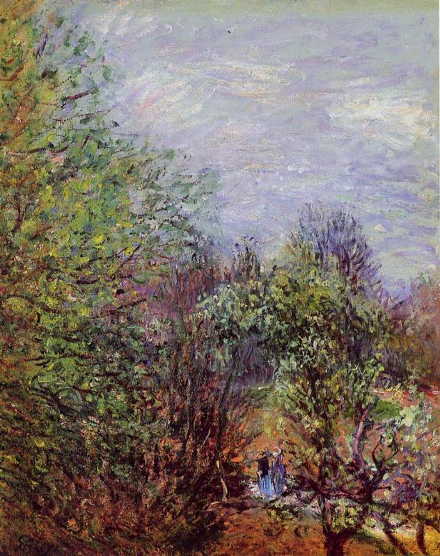 Two Women Walking along the riverbank  1880-1885 | Alfred Sisley | Oil Painting