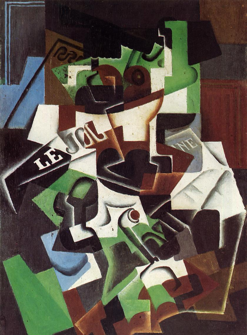 Fruit Bowl Pipe and Newspaper 1917 | Juan Gris | Oil Painting