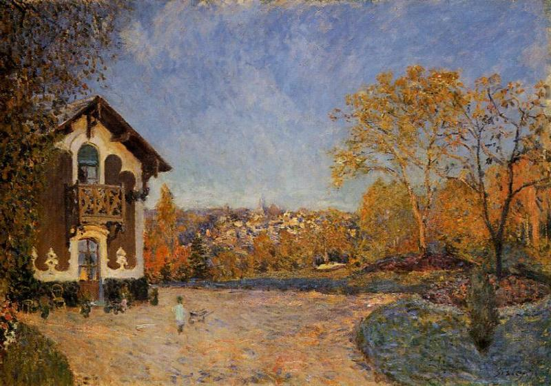 View of Marly-le-Roi from House at Coeur-Colant  1876 | Alfred Sisley | Oil Painting