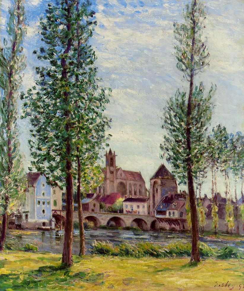 View of Moret-sur-Loing through the Trees  1892 | Alfred Sisley | Oil Painting
