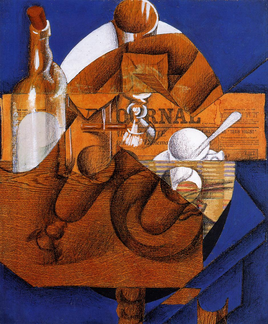Glass Cup and Bottle 1914 | Juan Gris | Oil Painting