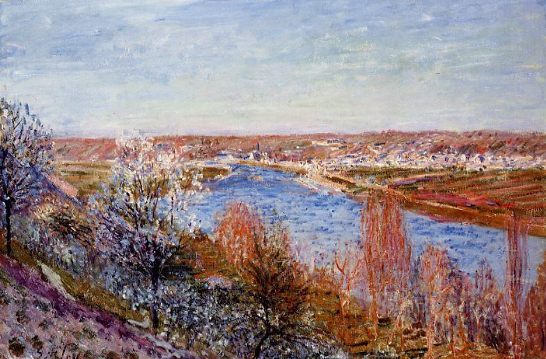 Village of Champagne at Sunset - April  1885 | Alfred Sisley | Oil Painting