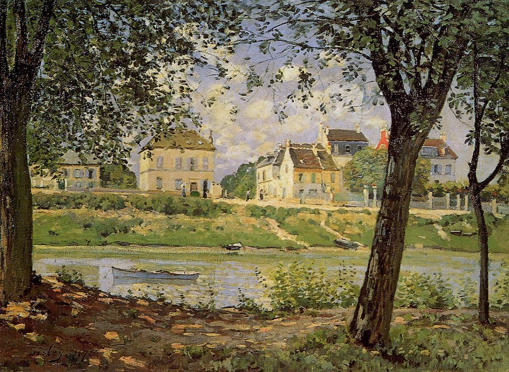 Village on the Banks of the Seine (aka Villeneuve-la-Garenne)  1872 | Alfred Sisley | Oil Painting