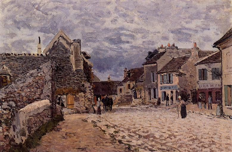 Village Street - Grey Weather  1874 | Alfred Sisley | Oil Painting