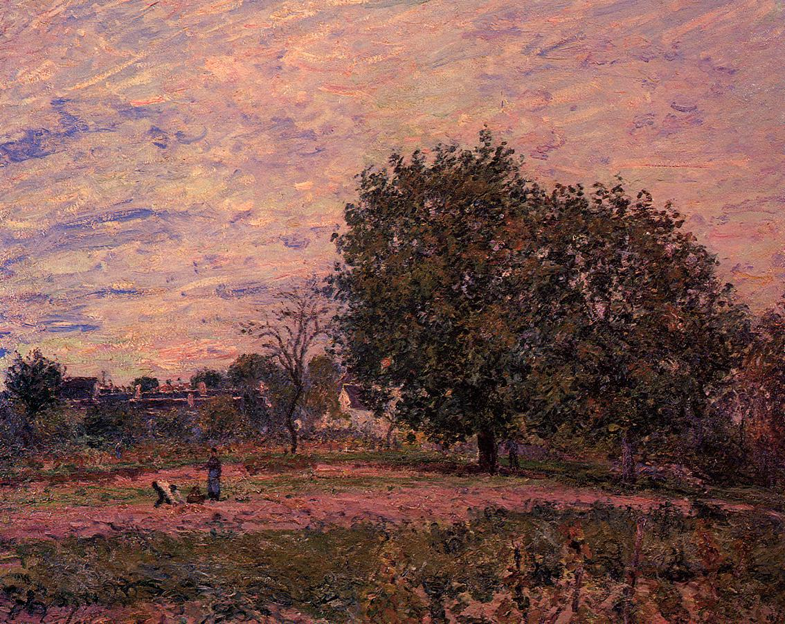 Walnut Trees Sunset - Early Days of October  1882 | Alfred Sisley | Oil Painting