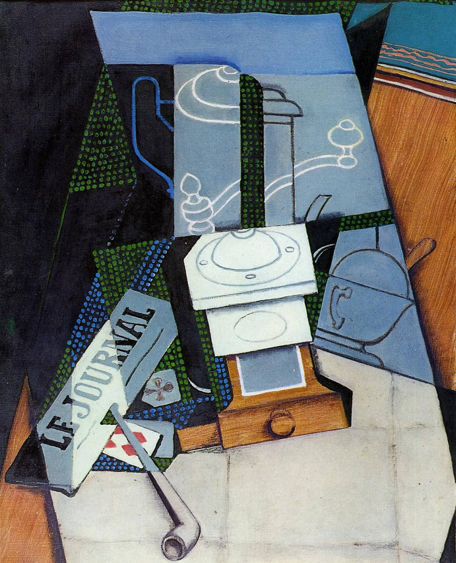 Newspaper with Coffee Mill 1915 | Juan Gris | Oil Painting