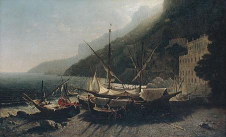 View at Amalfi Bay of Salerno 1857   George Loring Brown   Oil Painting
