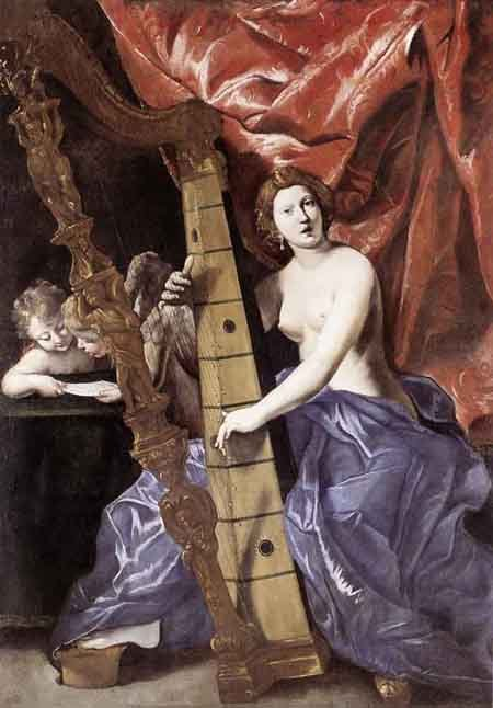 Venus Playing the Harp 1630 1634   Giovanni Lanfranco   Oil Painting