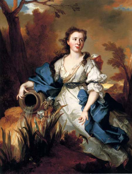 Portrait of Marianne de Mahony full length in a blue and white dress as a water nymph | Nicolas De Largilliere | Oil Painting